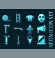 firefighter set icons blue glowing neon style vector image
