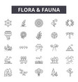 flora and fauna line icons signs set vector image vector image