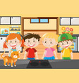 four kids standing in kitchen vector image vector image