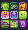 funny cartoon colorful app icons for slime game vector image vector image