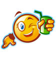 Funny emoticon holding a soda vector image