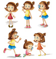 Girls actions vector image vector image