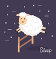 good night sleep cartoon sheep jump fence vector image vector image