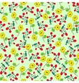 Green seamless summer patter with yellow flowers