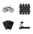 gym casino and other web icon in black style vector image vector image