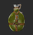 hand drawn sketch of travel flask in green color vector image