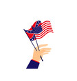 hand holds the flag of the united states vector image