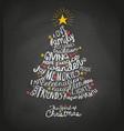 handwritten words in christmas tree shape vector image vector image