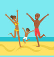 happy mother and father with their son jumping vector image