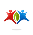 happy vegetarian ecology people logo vector image vector image