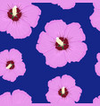hibiscus pink floral seamless pattern on blue vector image vector image