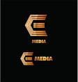 Letter e gold logo icon vector image vector image