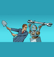 man fights with a robot vector image vector image