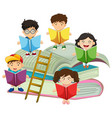 many children reading books vector image vector image