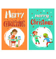 merry christmas greering card with children vector image vector image