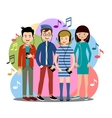 Modern people listen to music on gadgets vector image