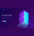 new opportunities isometric landing page banner vector image