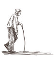 old man in medical face mask walking slowly vector image vector image