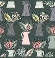 pattern with elements of cozy garden vector image vector image