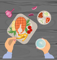 person is eating grilled fish vector image vector image
