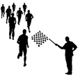 Running black silhouettes vector image vector image