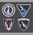 set isolated astronaut or cosmonaut patch sign vector image vector image