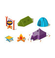 set of isometric camping equipment vector image vector image