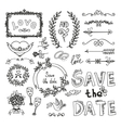 Set of wedding decorative elements vector image vector image