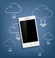 smartphone and cloud data storage vector image vector image
