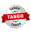 tango 3d silver badge with red ribbon vector image vector image