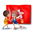 The flag of Hongkong at the back of the basketball vector image vector image
