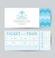 ticket template with palm seagulls island and vector image
