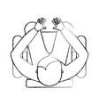 top view men sitting cartoon vector image vector image