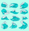 vintage hand drawn sea blue waves with splashes vector image vector image