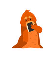 walrus standing with smartphone cute animal vector image vector image