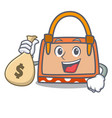with money bag hand bag character cartoon vector image