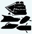 Wooden boat with paddles sailing ship and luxury vector image