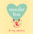 valentines day monster love card with blue vector image