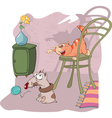 Cute Cat and Little Dog Cartoon vector image