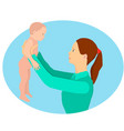 a young mother is holding her daughter in her arms vector image vector image