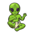 alien baby in diaper color sketch engraving vector image vector image