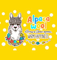 alpaca wool design template vector image