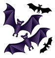 bat black and purple isolated on white background vector image vector image