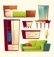 bedroom living room interior cartoon object vector image vector image