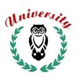 Black owl in wreath as university symbol vector image vector image