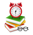 books and alarm clock realistic back to vector image