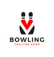 bowling ball sports logo with letter v vector image vector image