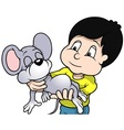 Boy Holding Sleeping Mouse vector image vector image