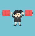 business woman lifting a heavy power human man vector image
