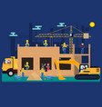 cartoon builders on a construction site vector image vector image